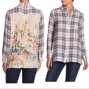 Johnny Was Ceretti Embroidered Back Plaid Shirt
